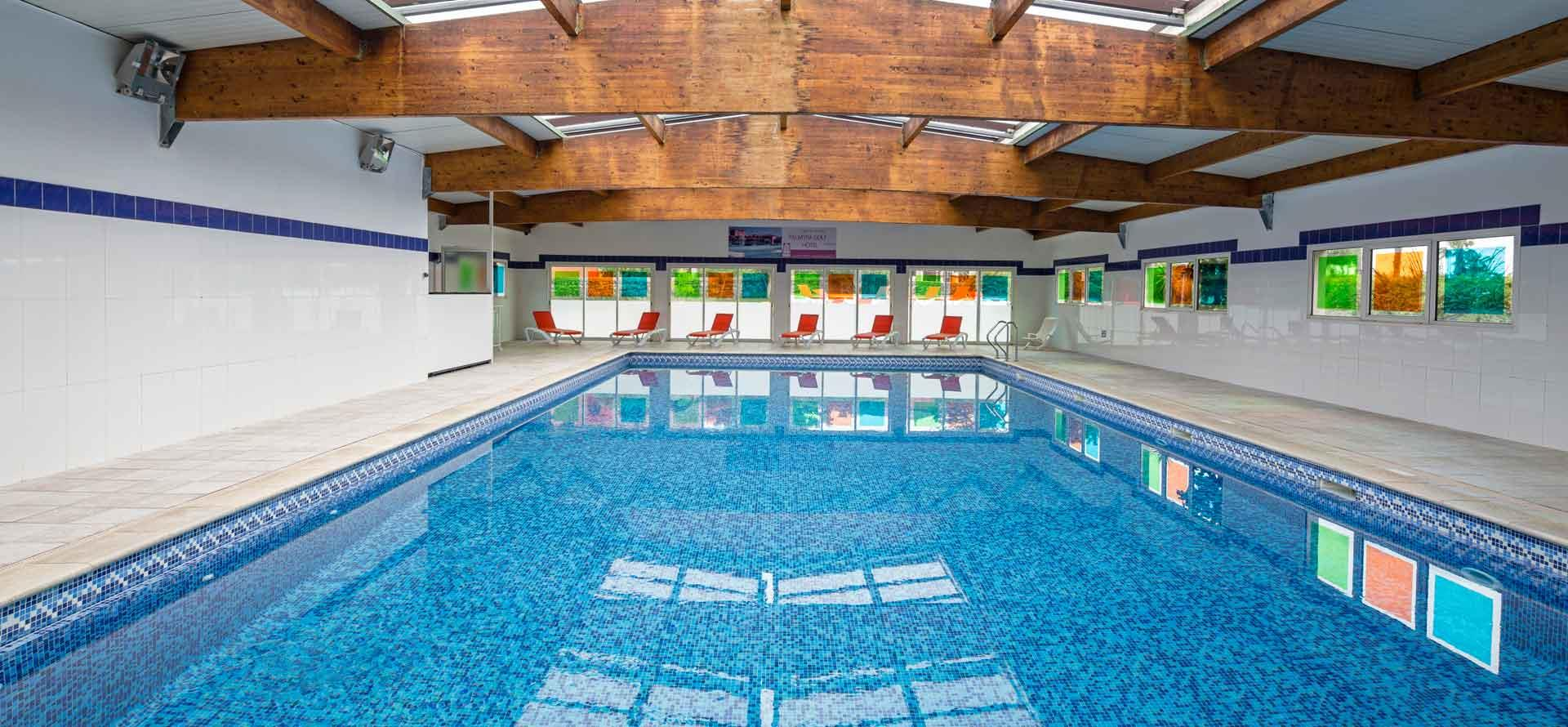 View of the indoor pool at the Palmyra Golf hotel in Cap d'Agde