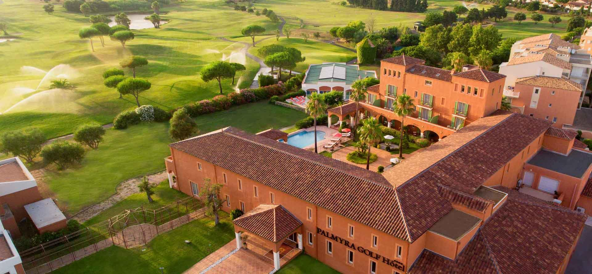 Overall view of the 4-star Palmyra Golf hotel beside the Cap d'Agde International Golf course